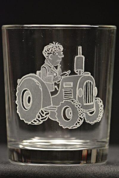 Motivglas Bauer mit Traktor