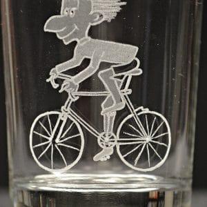 Motivglas Radfahrer