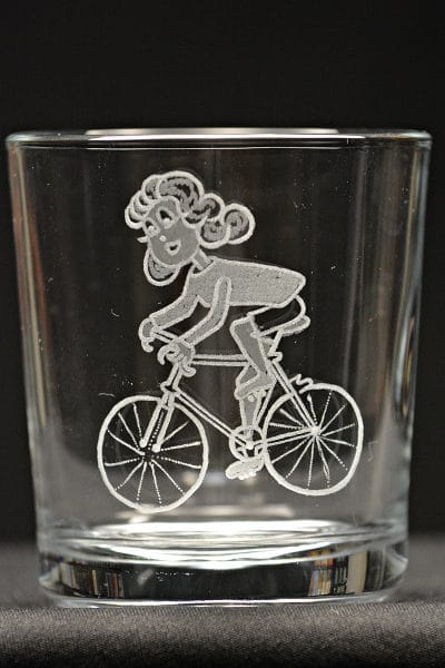 Motivglas Radfahrerin