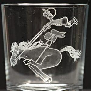 Motivglas Pferd mit Reiter