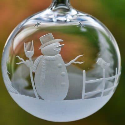 Glaskugel mit Schneemann